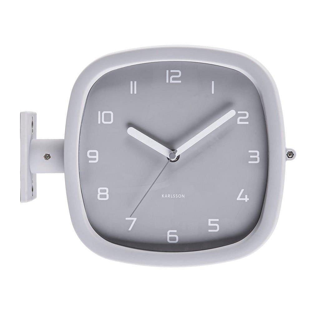Šedé nástěnné hodiny Karlsson Slides, 29 x 24,5 cm