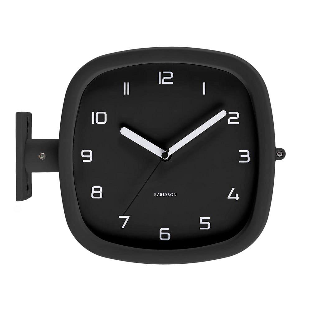 Černé nástěnné hodiny Karlsson Slides, 29 x 24,5 cm