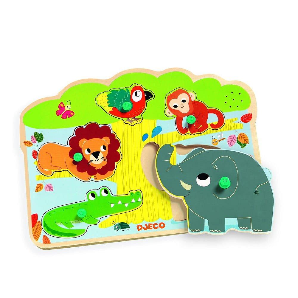 Dřevěné vkládací puzzle s motivy zvířátek z jungle se zvuky Djeco