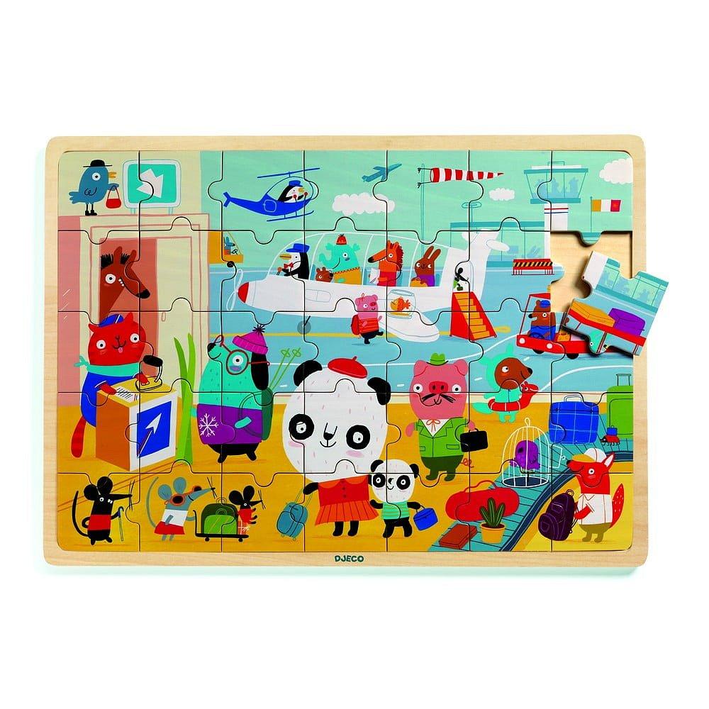 Dětské dřevěné puzzle Djeco Letiště