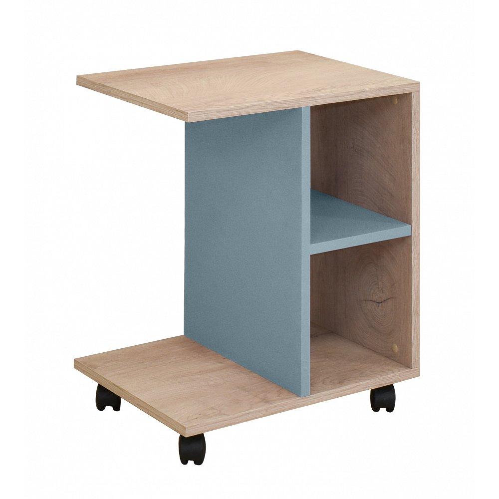 KINDER Boční stolek, dub/modrá