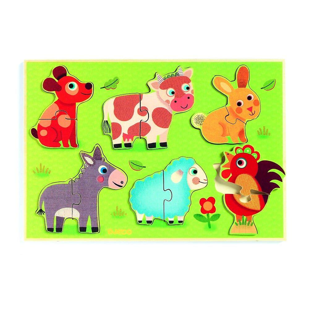 Dětské vkládací dřevěné puzzle s motivy domácích zvířat Djeco