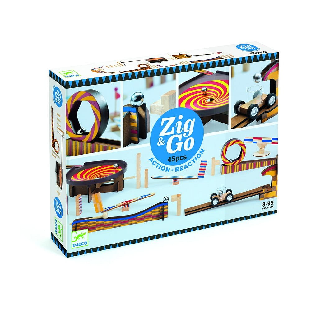 Dětská dřevěná dráha Djeco Zig Go, 45 dílků