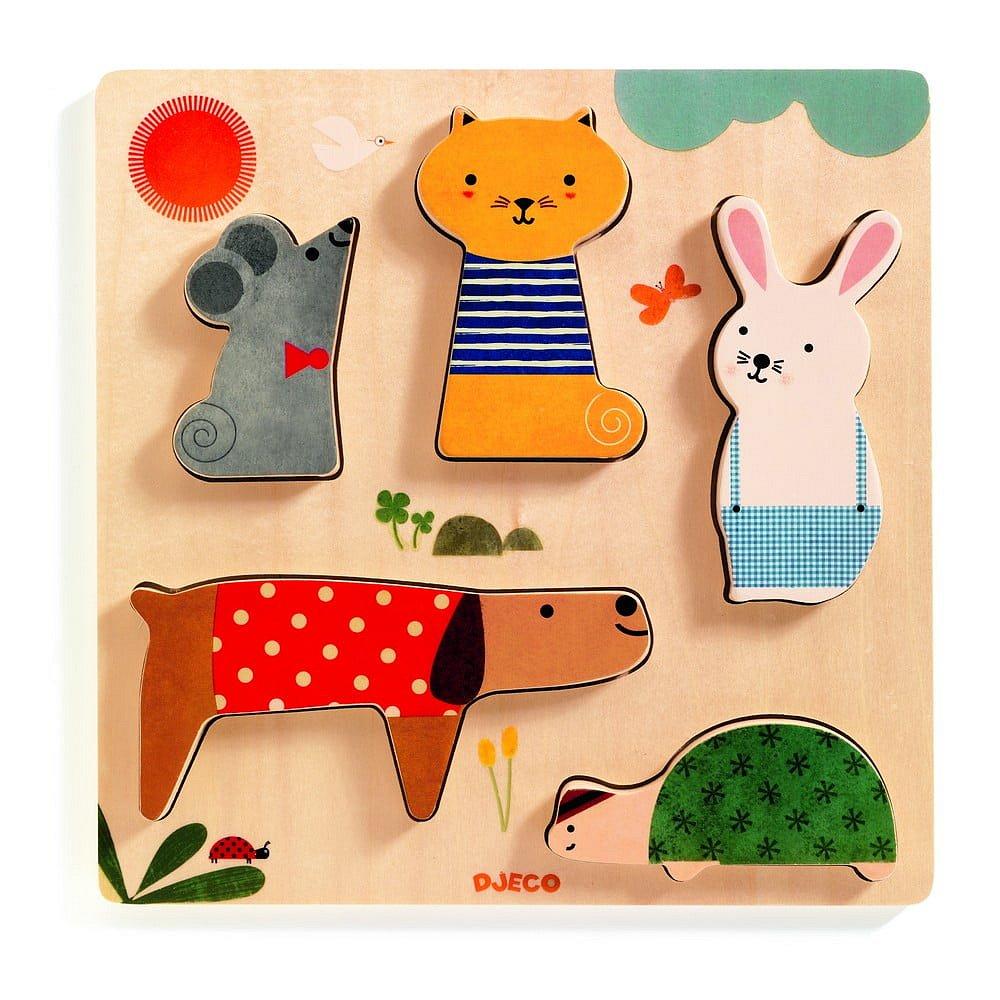 Dětské vkládací dřevěné puzzle s motivy domácích mazlíčků Djeco