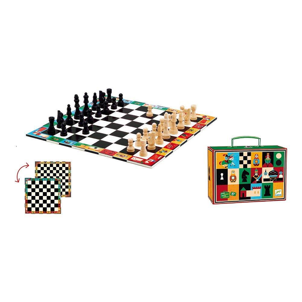Dětské dřevěné malované šachy Djeco