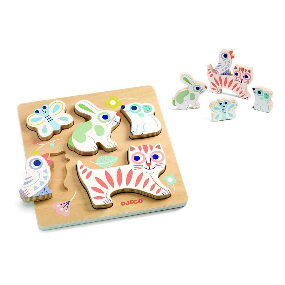 Dětské vkládací dřevěné puzzle Djeco Pastelová mláďátka