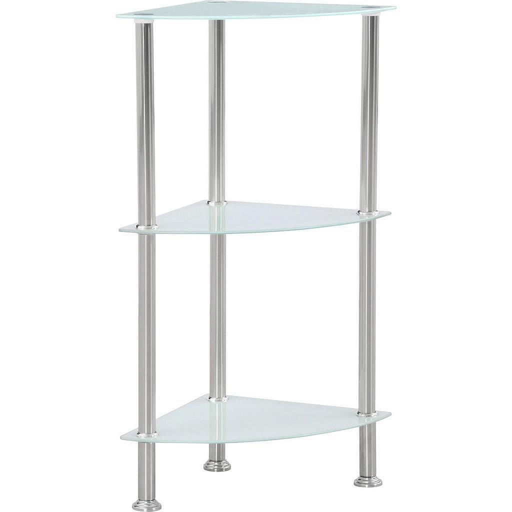 Moderní a jednoduchý regál z kovu a skla