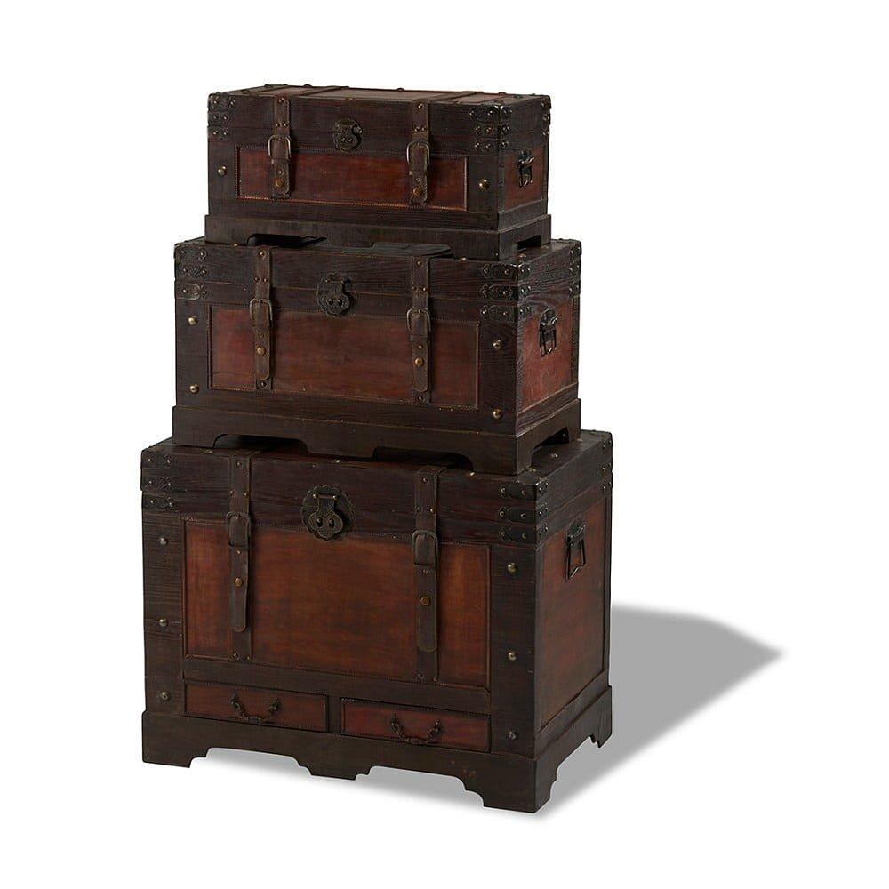 Sada 3 dřevěných dekorativních truhlic Furnhouse Trunks Medieval