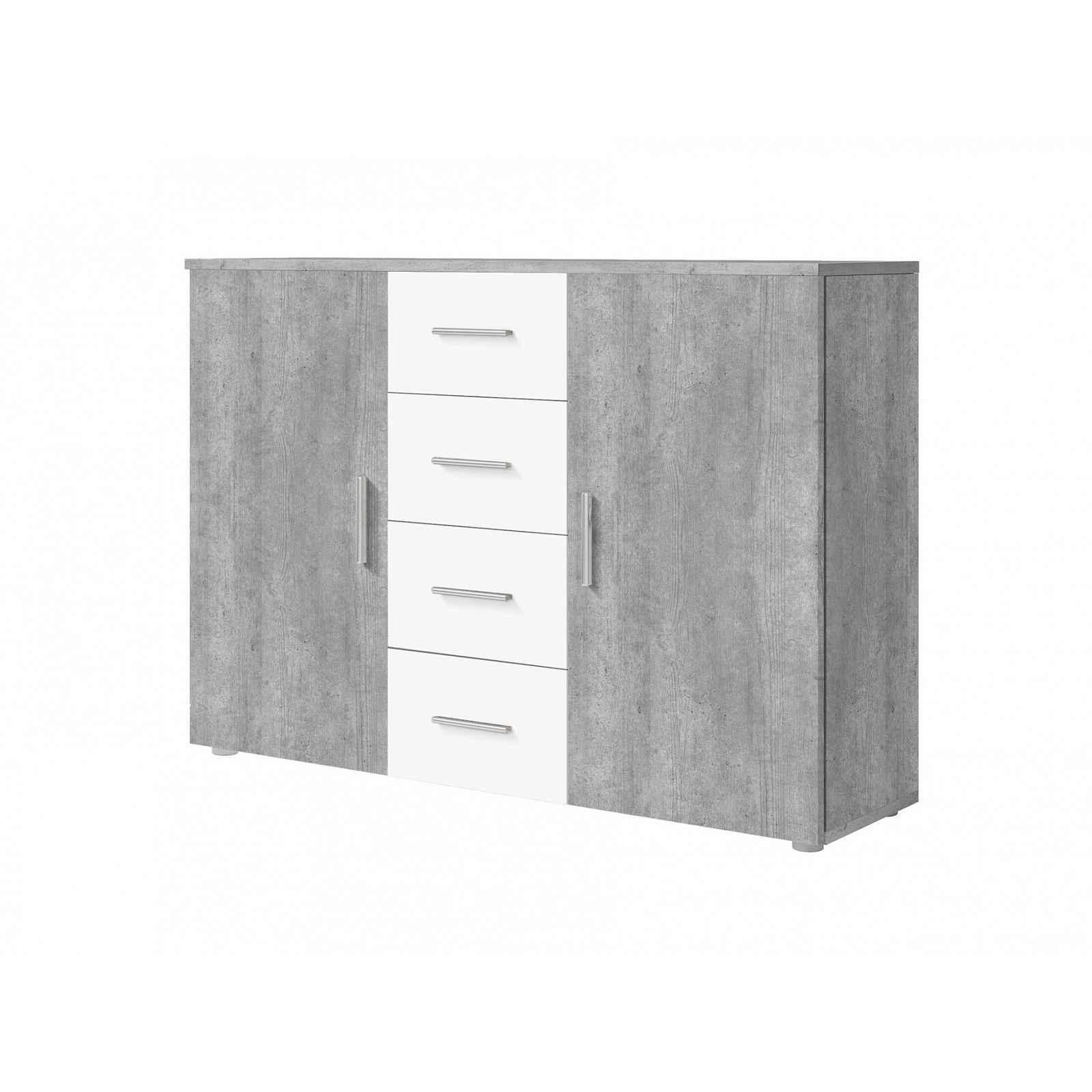 VERA komoda, beton colorado/bílá