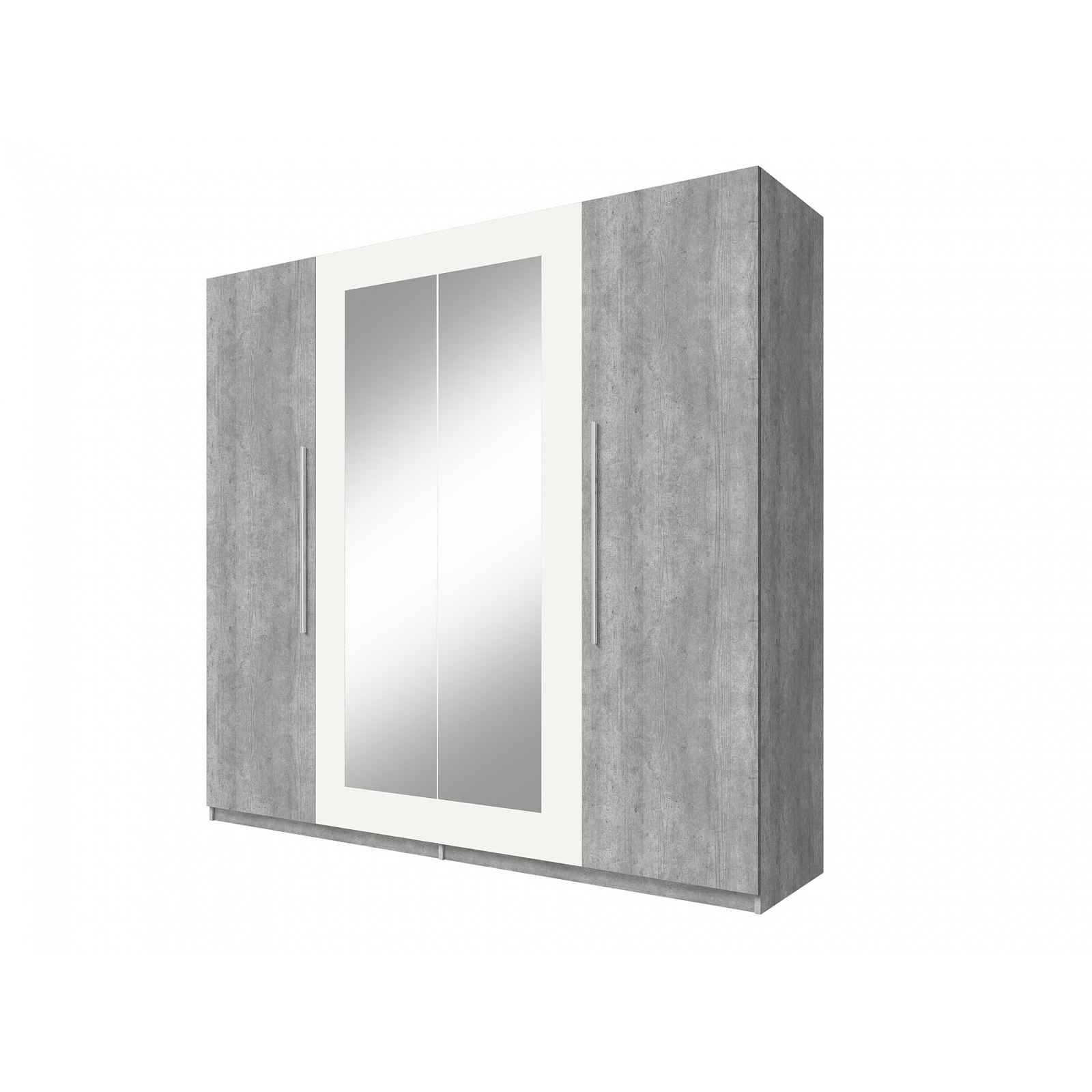 VERA skříň se zrcadlem, beton colorado/bílá
