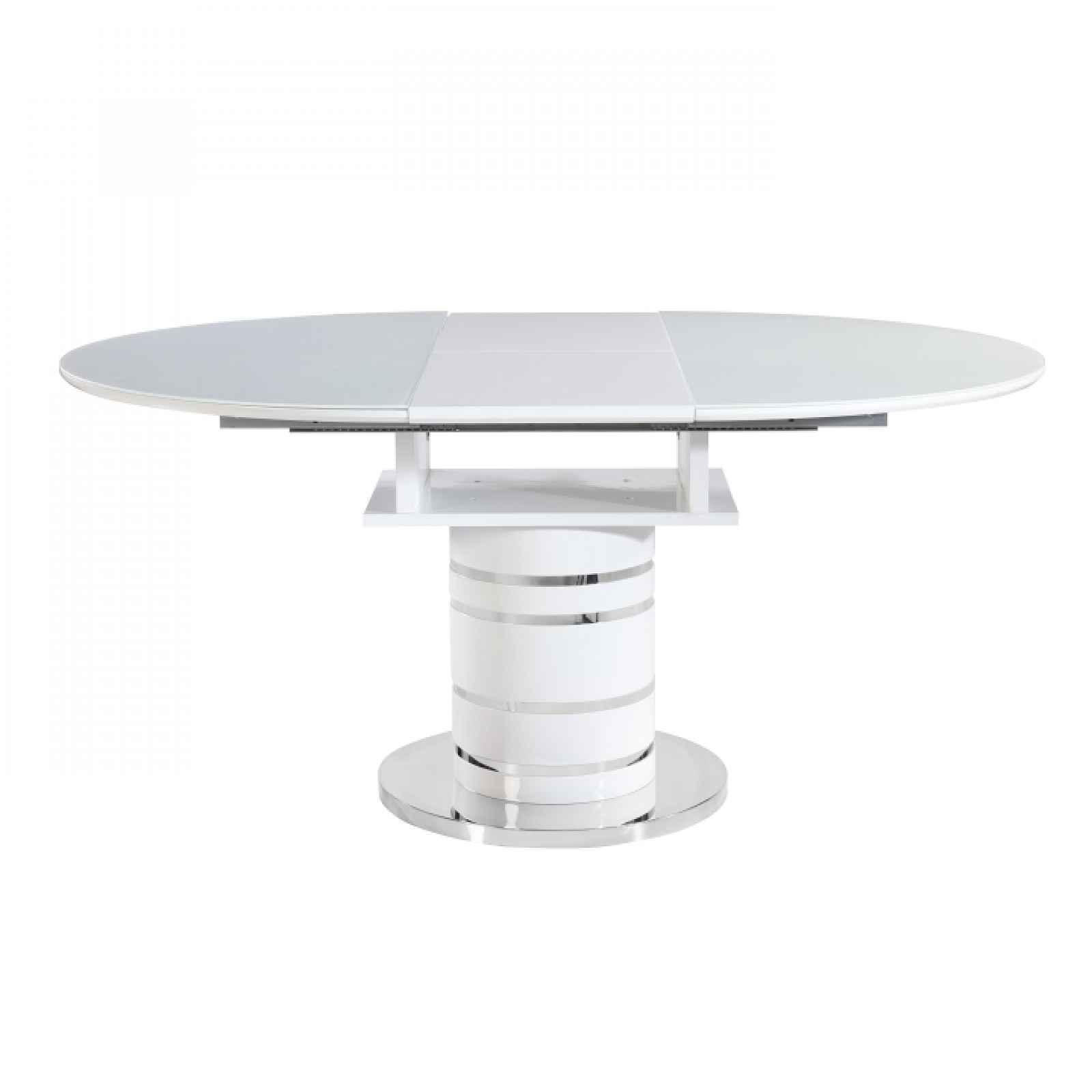 Jídelní stůl rozkládací, bílá vysoký lesk HG, ZAMON 0000205719 Tempo Kondela