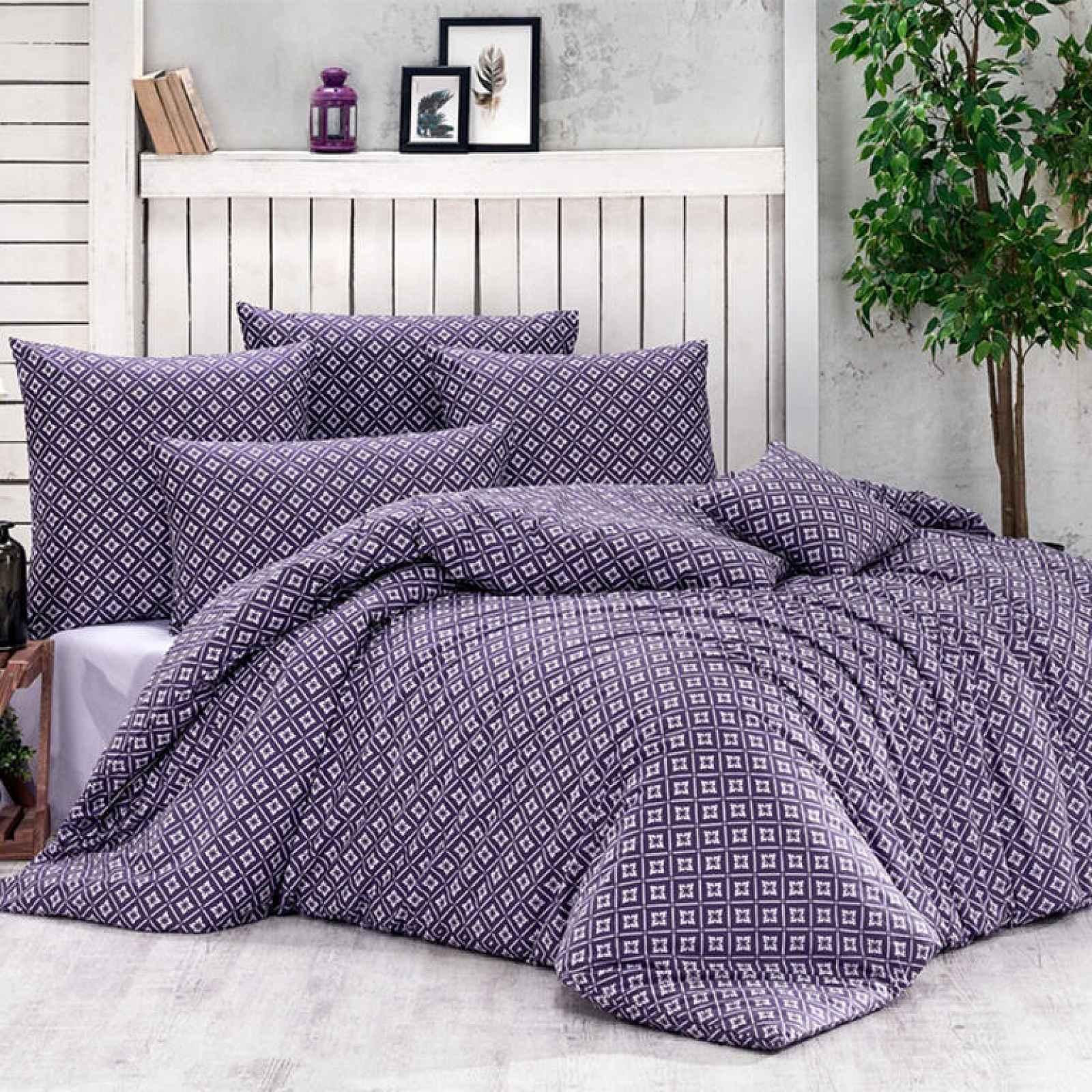 Bavlněné  povlečení BRYNJAR fialové 140 x 200 cm, 70 x 90 cm