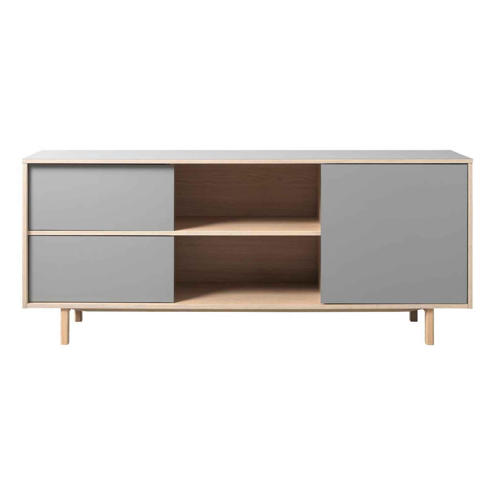 Šedá komoda s detaily v dubovém dekoru Unique Furniture Bilbao