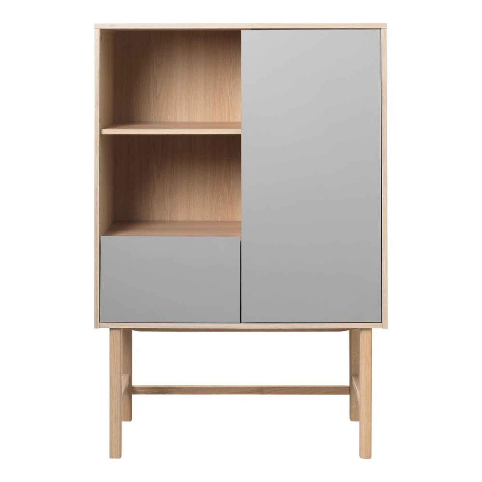 Šedá komoda s nohami z dubového dřeva Unique Furniture Bilbao