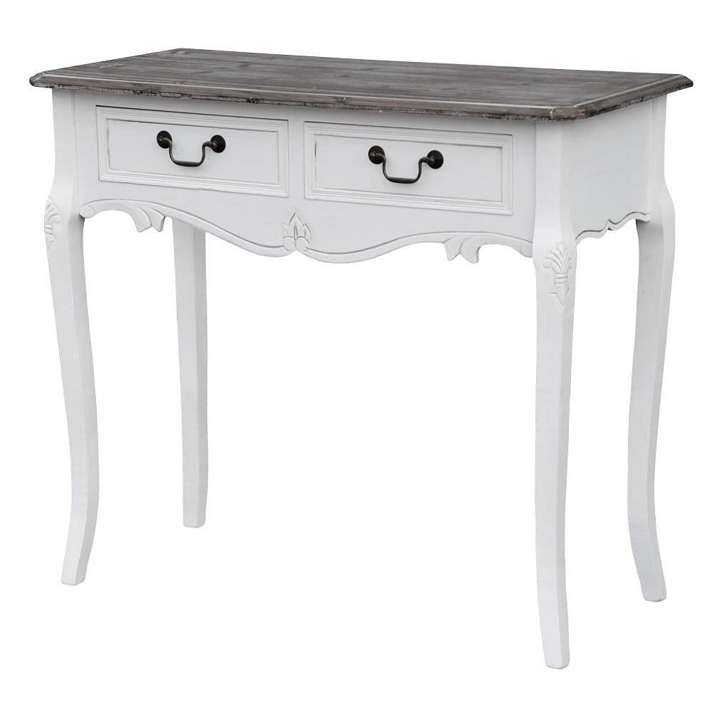 Bílý konzolový stolek z topolového dřeva s přírodními detaily a 2 zásuvkami Livin Hill Rimini