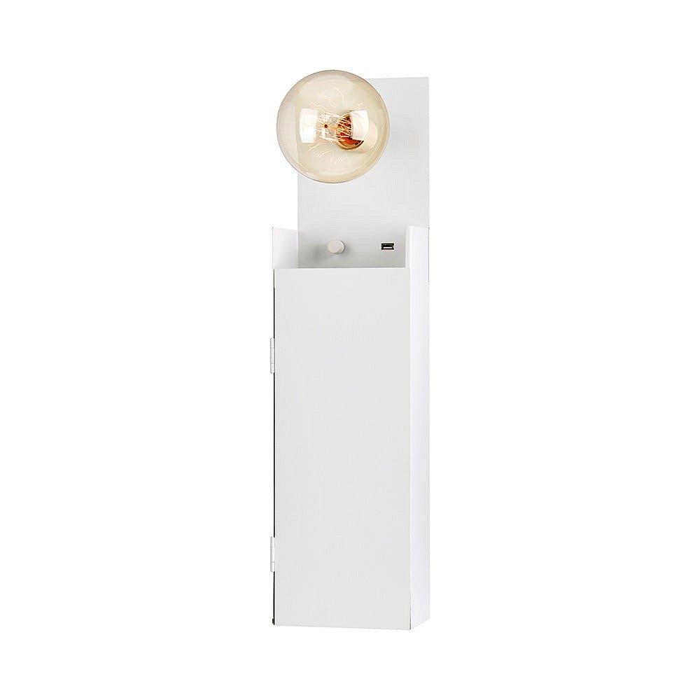 Bílé nástěnné světlo se skříňkou Markslöjd Combo