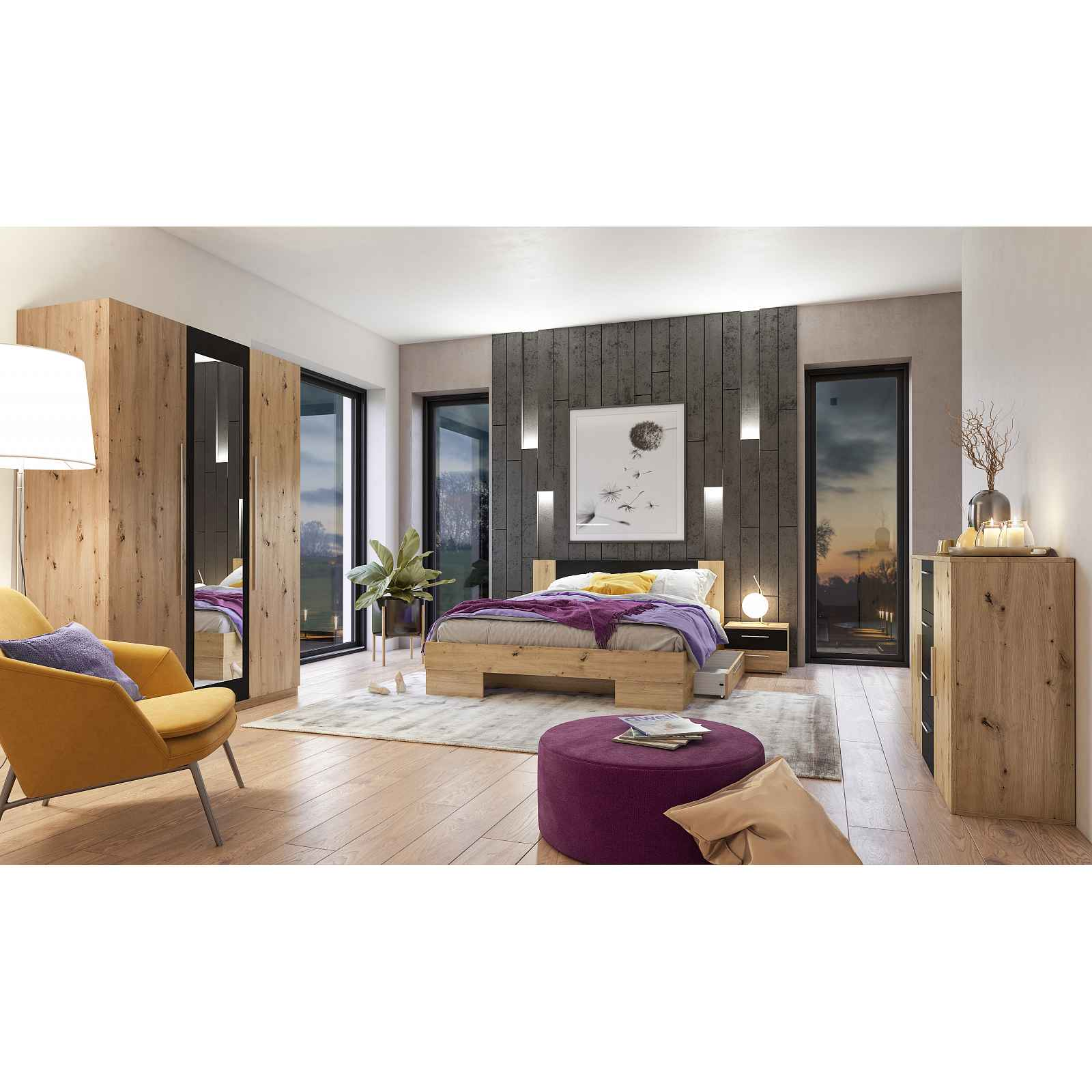VERA II ložnice s postelí 160x200 cm, dub artisan/černá