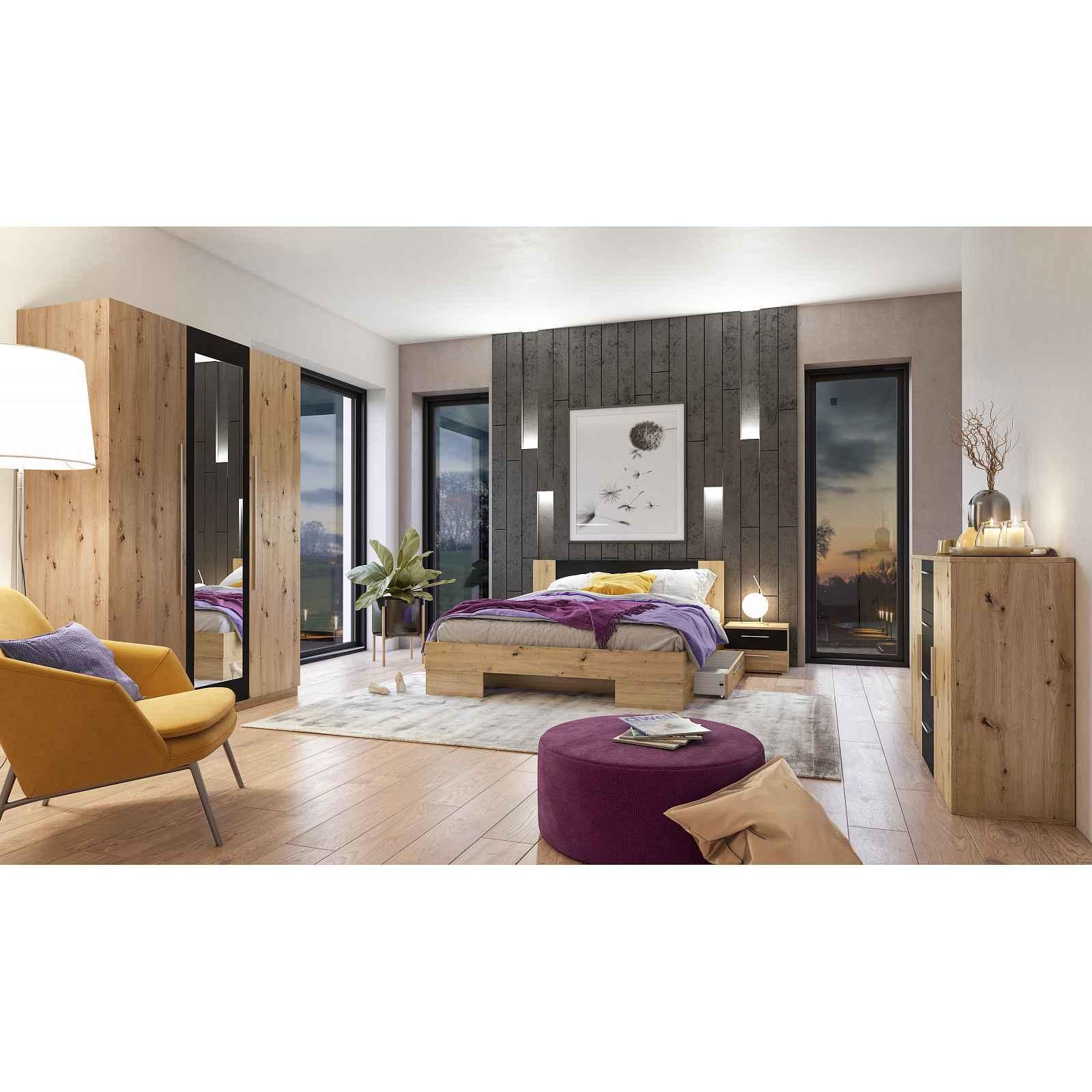 VERA II ložnice s postelí 180x200 cm, dub artisan/černá