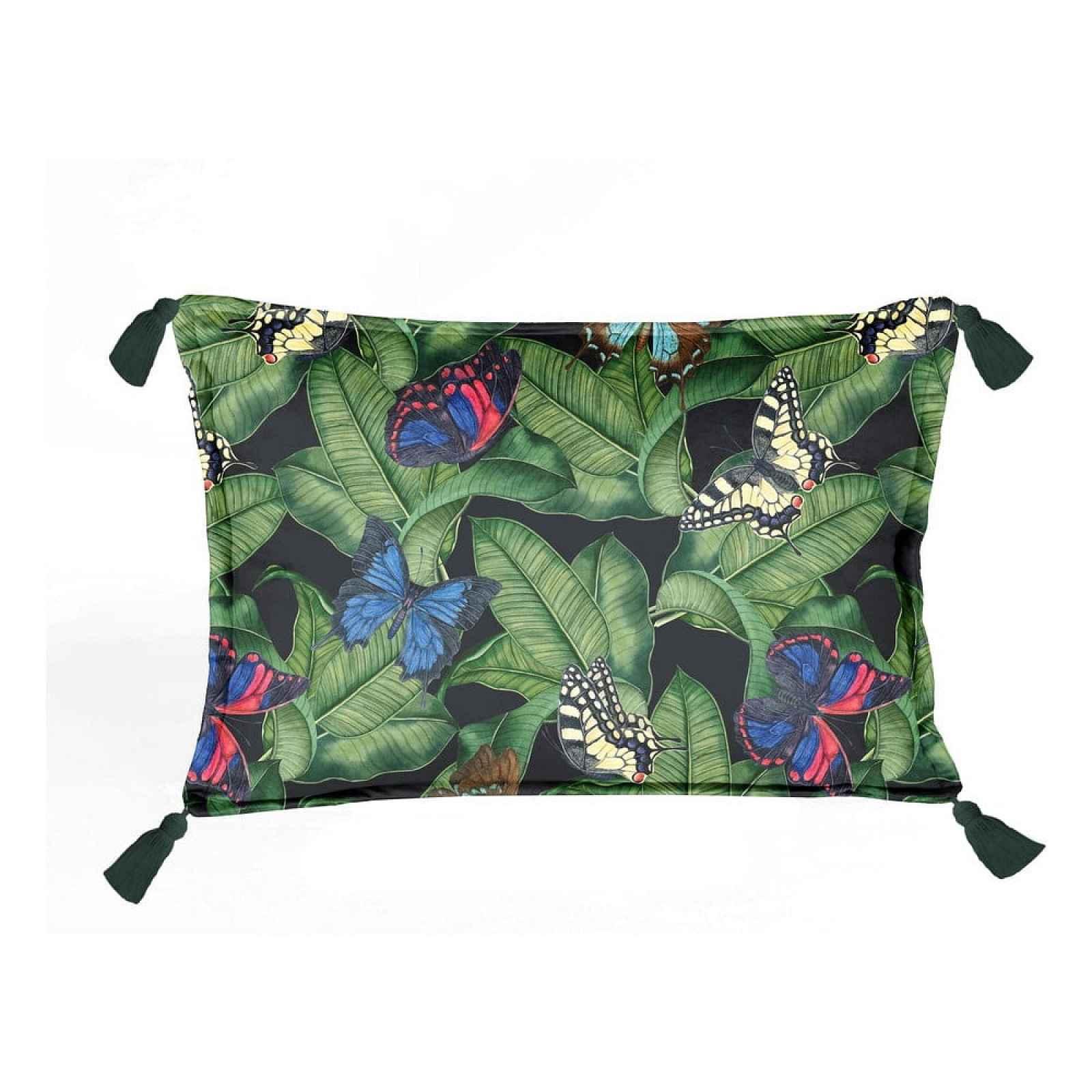 Zelený sametový polštář Velvet Atelier Borlas,50x35cm