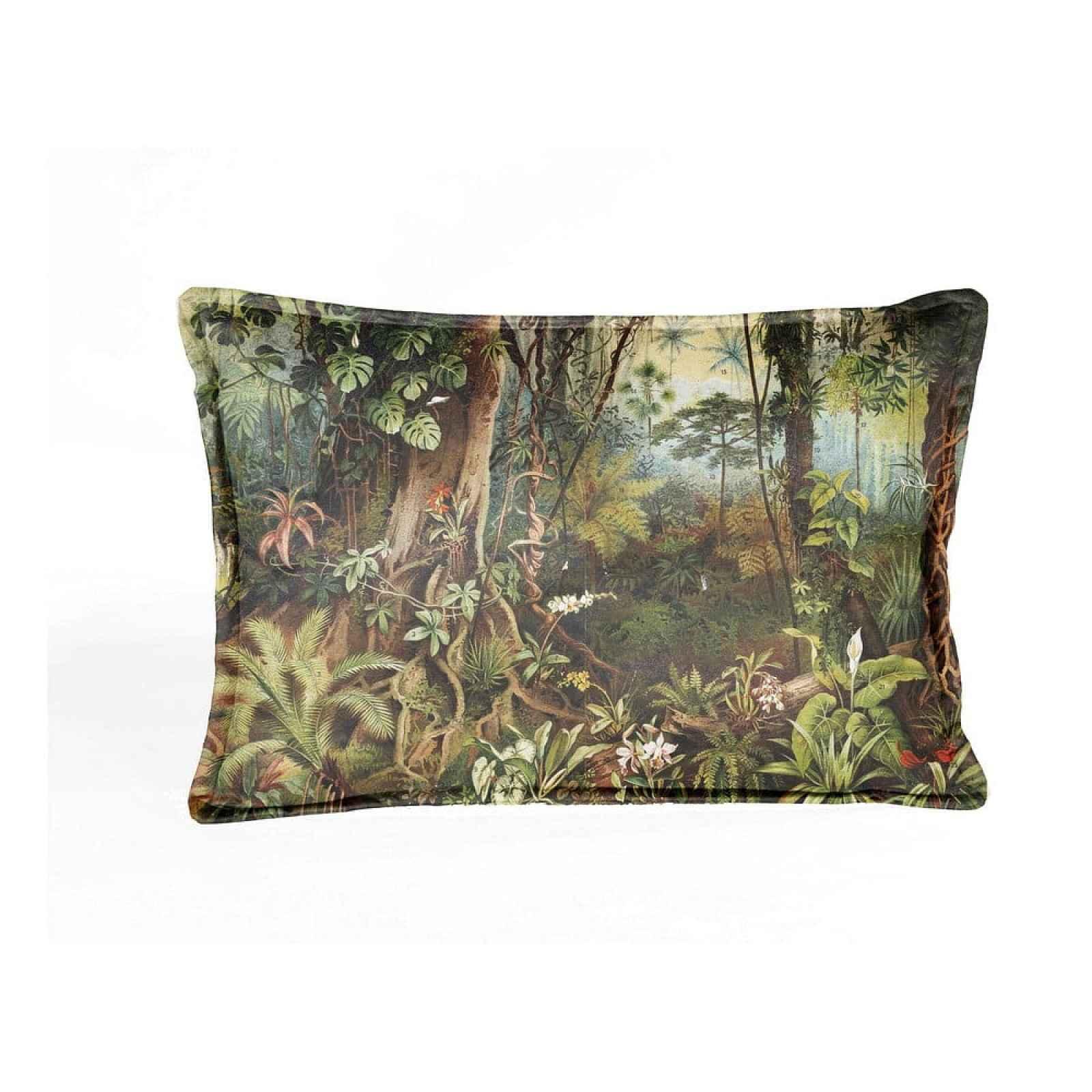 Hnědo-zelený sametový polštář Velvet Atelier Sabana,50x35cm