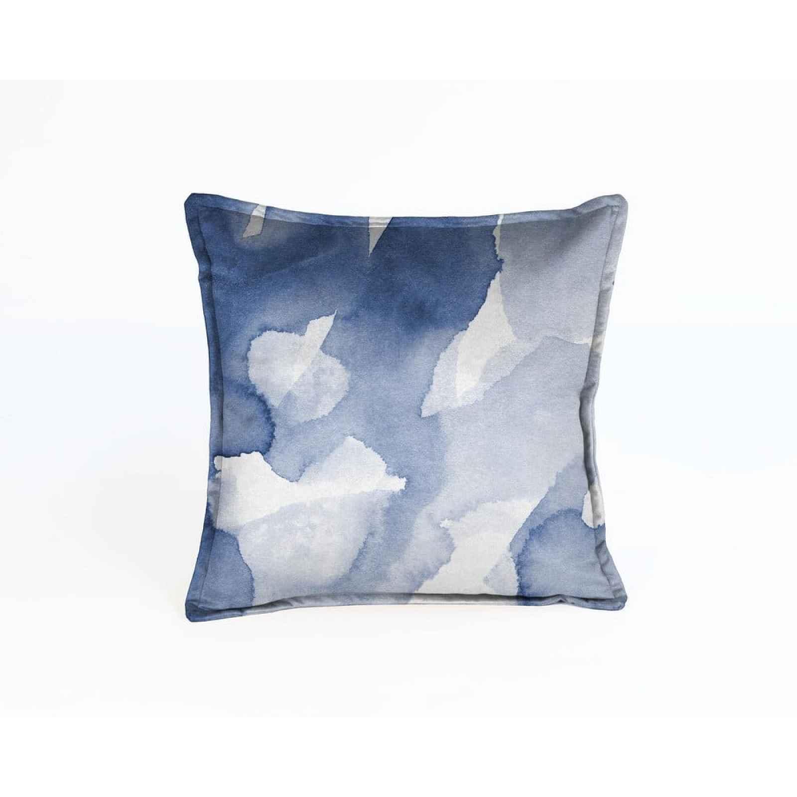 Modrý sametový polštář Velvet Atelier Abstract,45x45cm