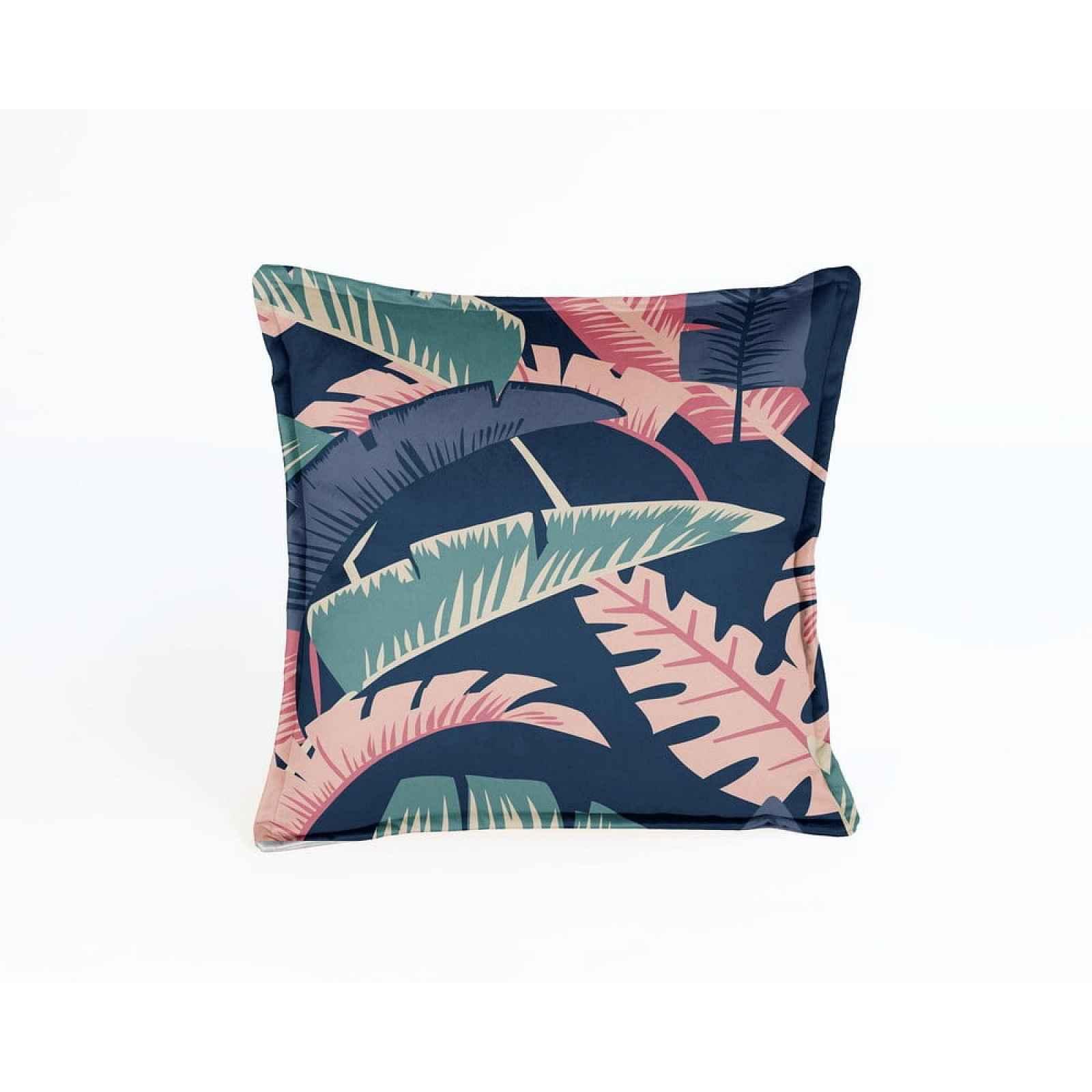 Modro-růžový sametový polštář Velvet Atelier Susan,45x45cm