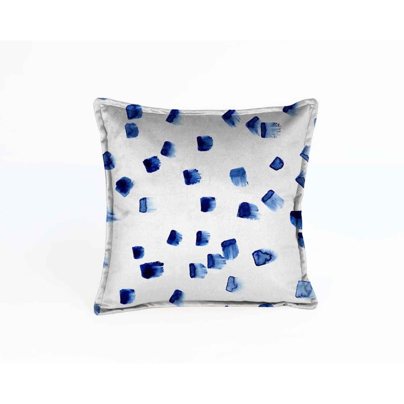 Modro-šedý sametový polštář Velvet Atelier Mallorca,45x45cm
