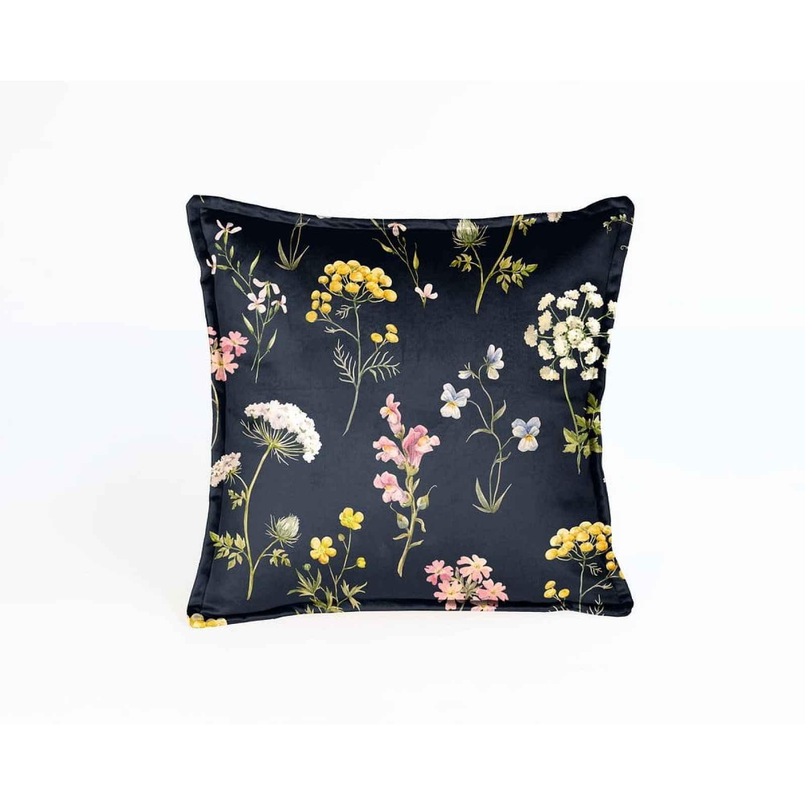 Tmavě modrý polštář s květinovým vzorem Velvet Atelier Flowers,45x45cm
