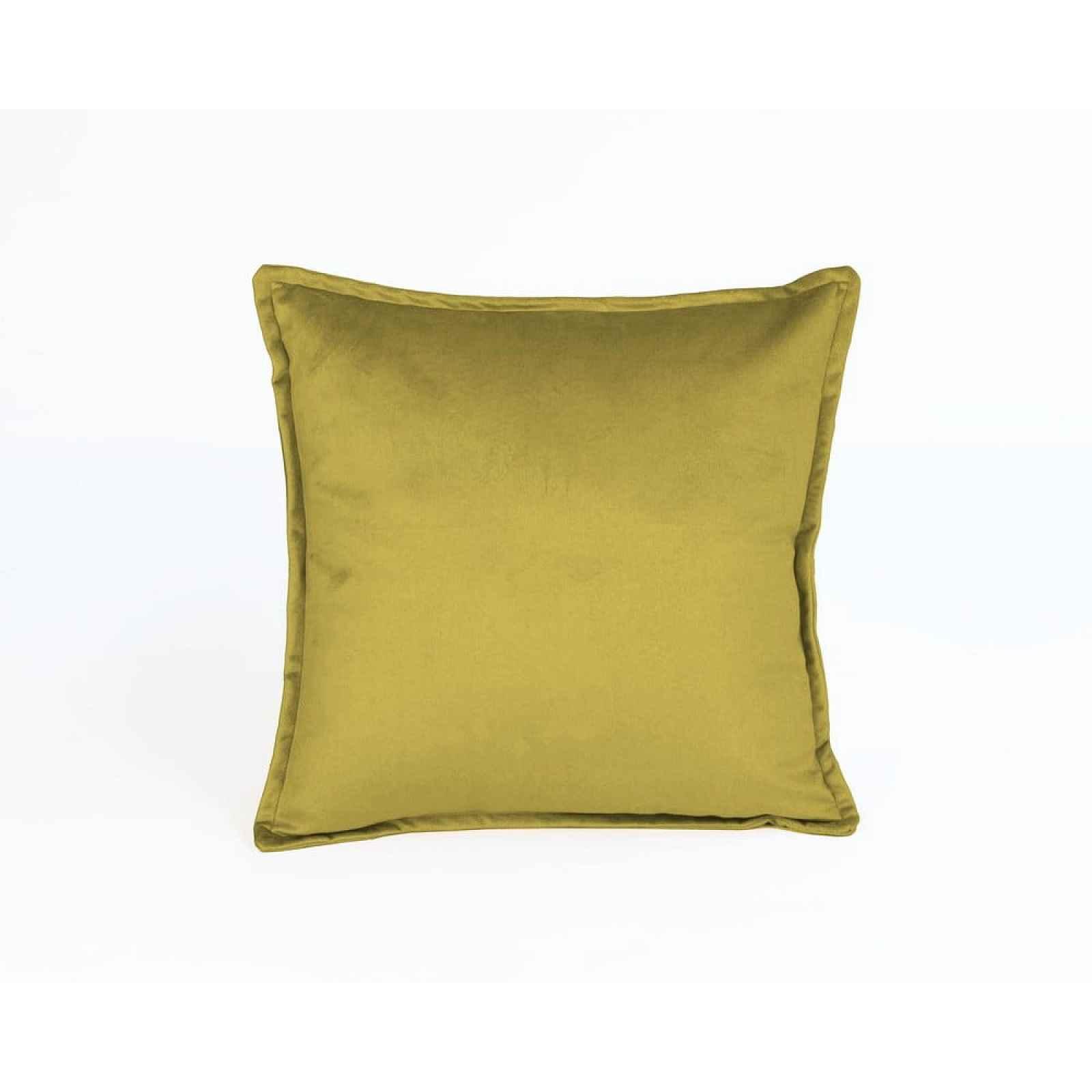 Žlutý sametový polštář Velvet Atelier Tercio,45x45cm