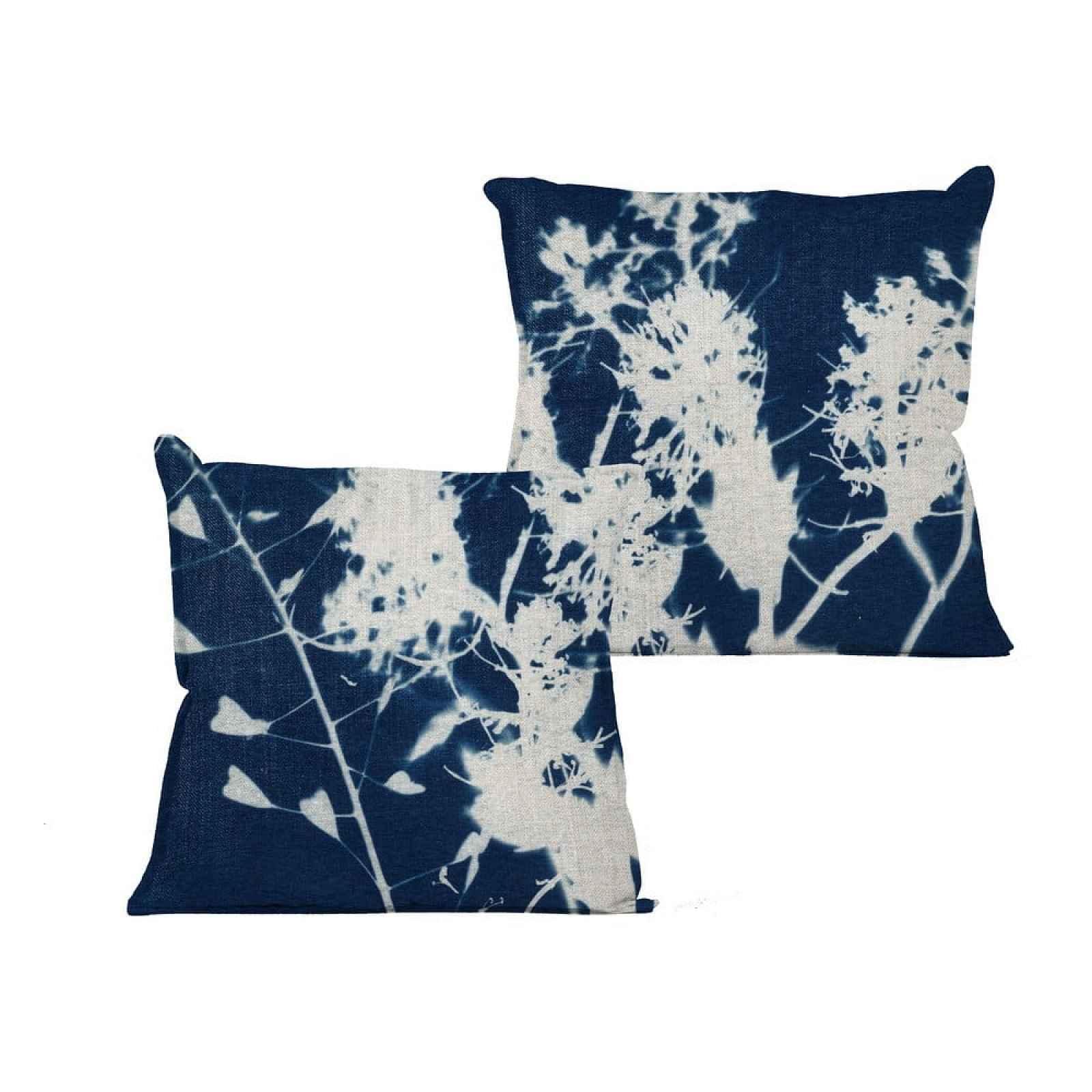 Modrý polštář s abstraktním vzorem Linen Couture Spot,45x45cm