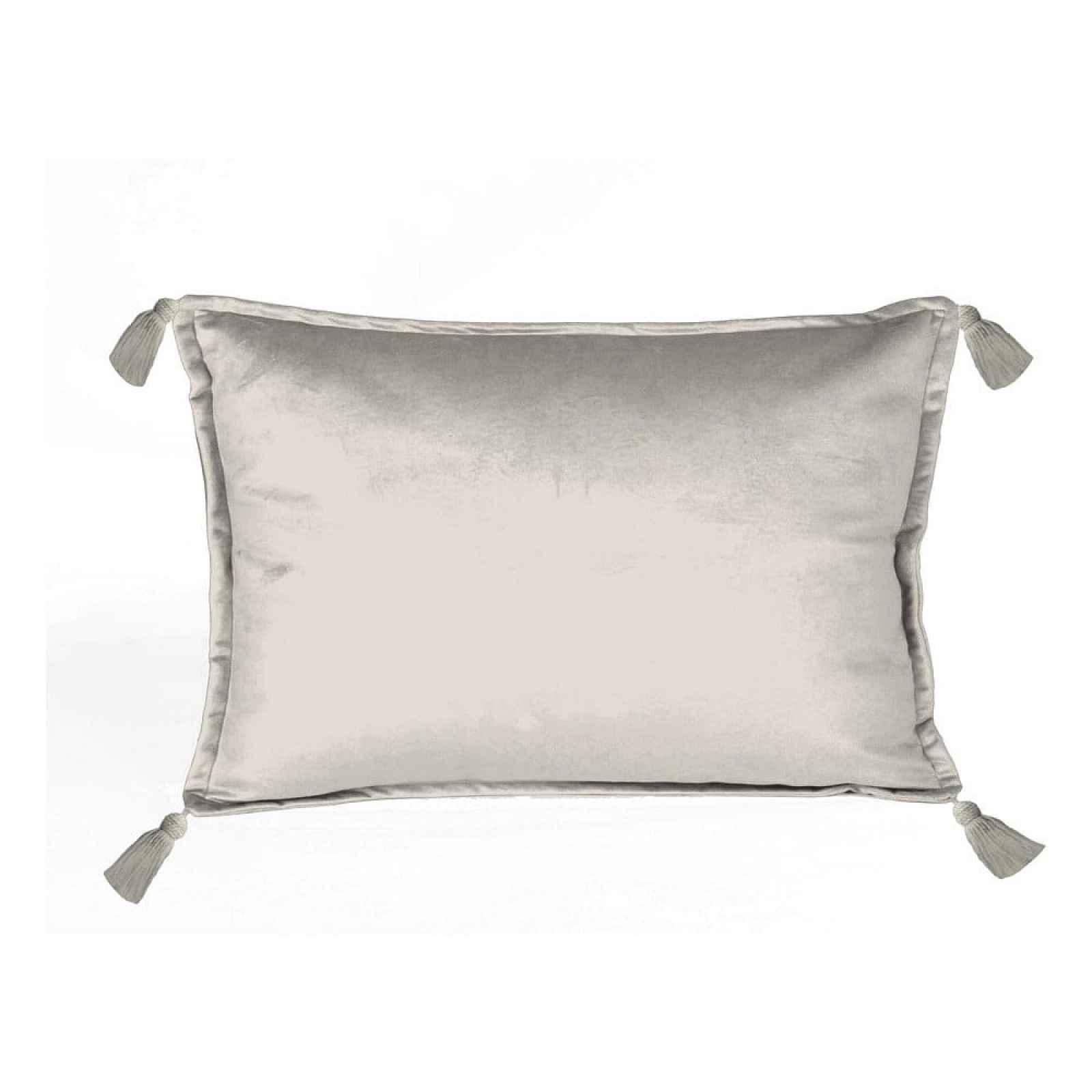 Šedý sametový polštář Velvet Atelier Borlas,50x35cm