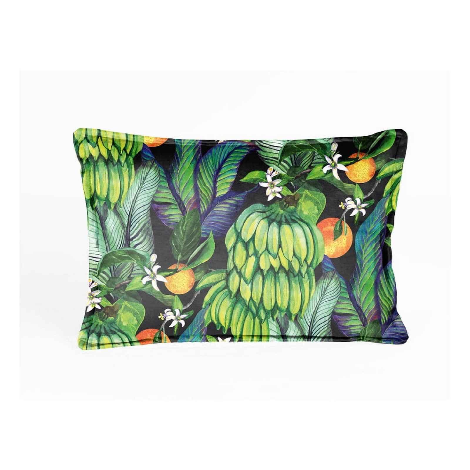 Zelený sametový polštář Velvet Atelier Banana,50x35cm