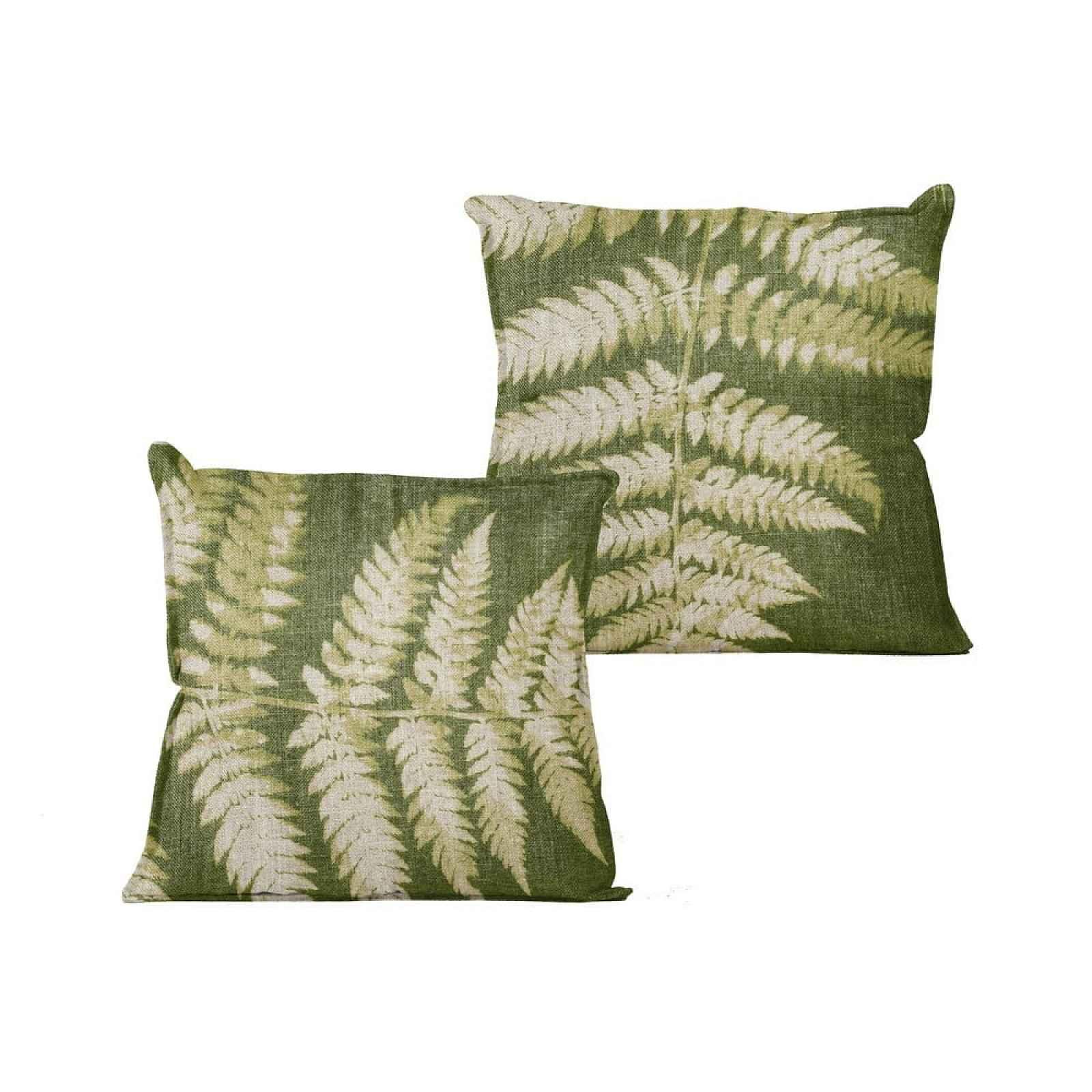 Zelený polštář s motivem listu Linen Couture Leaves,45x45cm