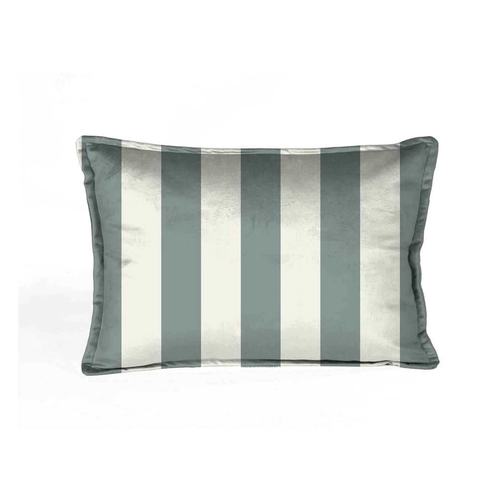 Bílo-zelený sametový polštář Velvet Atelier Turquoise,50x35cm