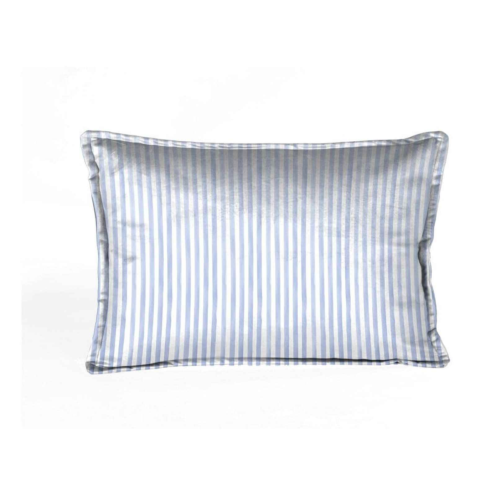 Bílý sametový polštář s modrými pruhy Velvet Atelier Pajamas,50x35cm