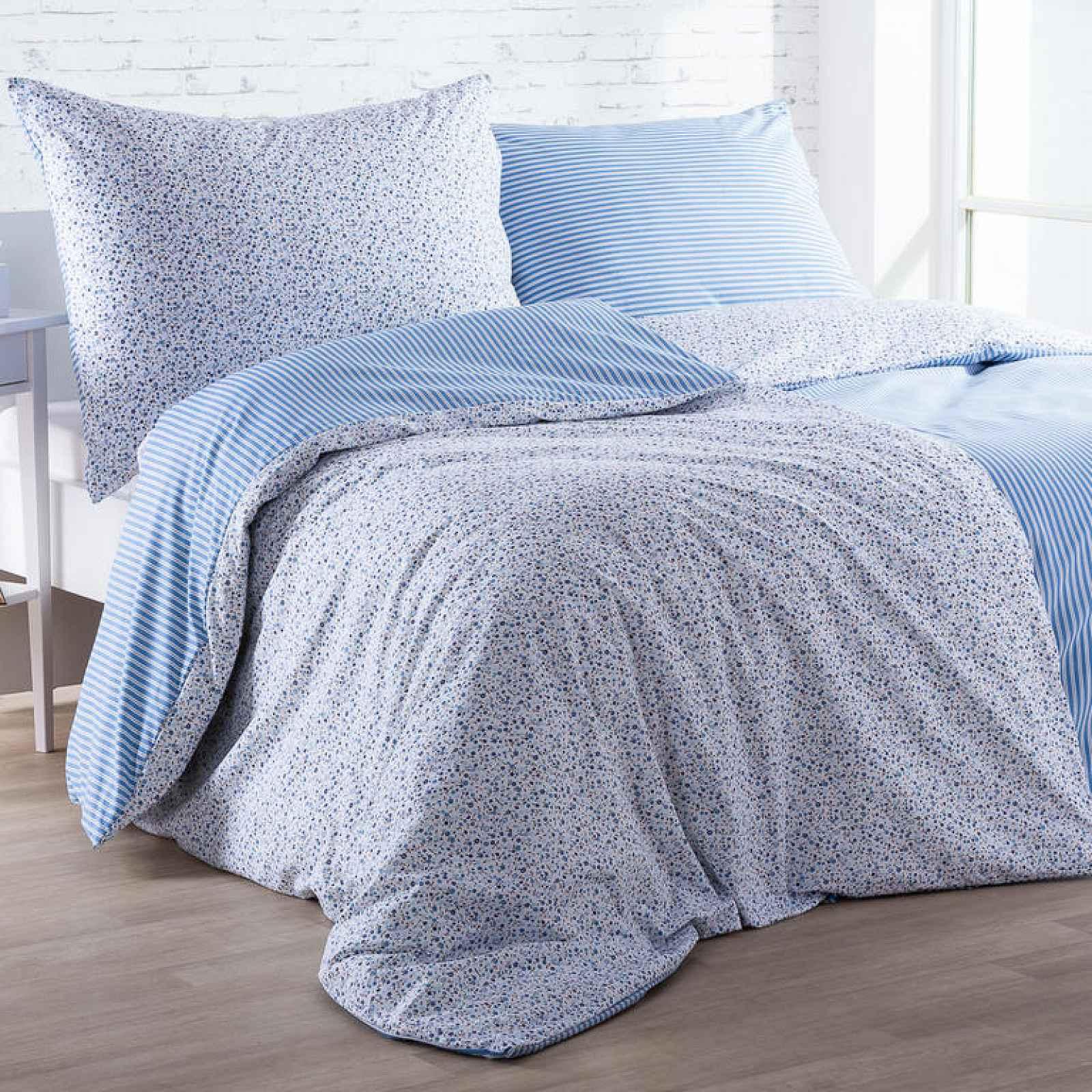 Bavlněné  povlečení ŽANETA světle modré 140 x 200 cm, 70 x 90 cm