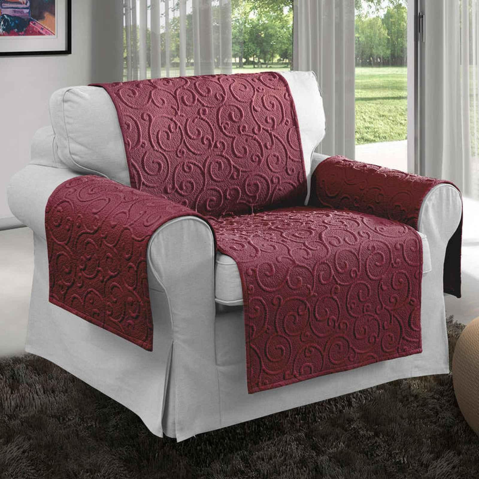 Přehozy na sedací soupravu VOLTE bordó 2x područky - 50 x 70 cm