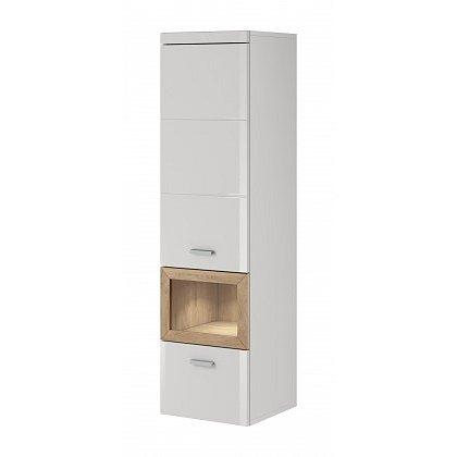 Box In - Skříň, levá (bílý korpus/bílý front, dub okraje)