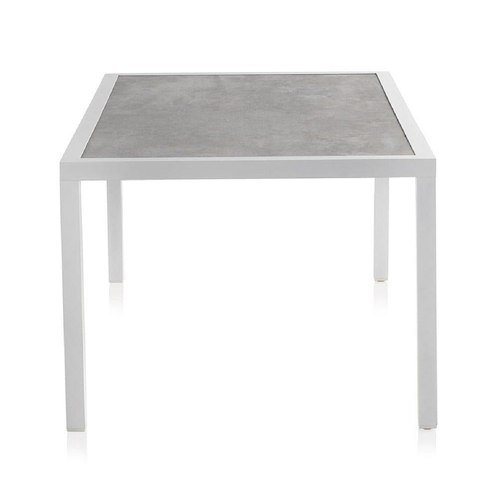 Bílý zahradní stůl s keramickou deskou Geese Chiara, 100 x 160 cm