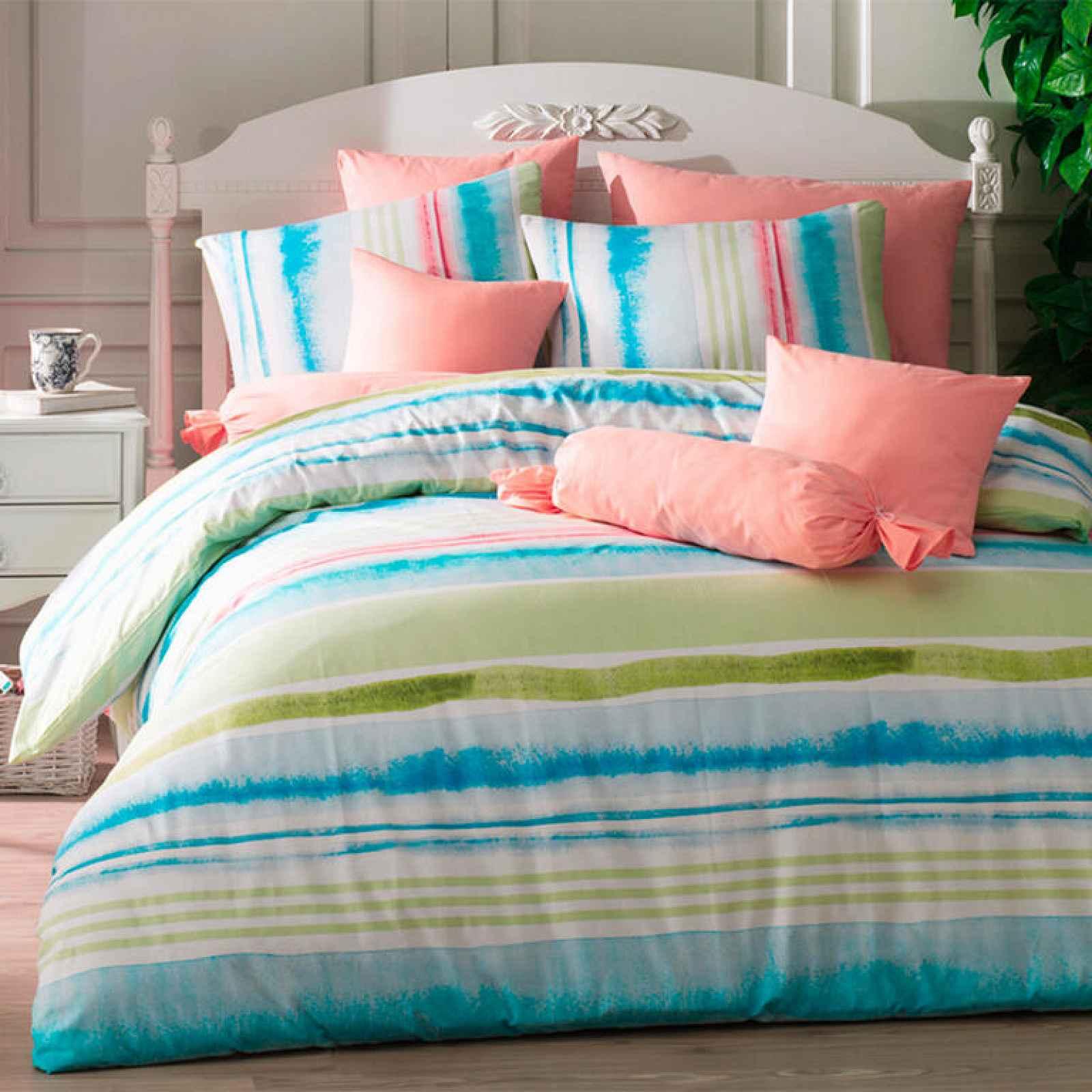 TipTrade bavlna povlečení Tempera Tyrkysové 200x220 2x70x90