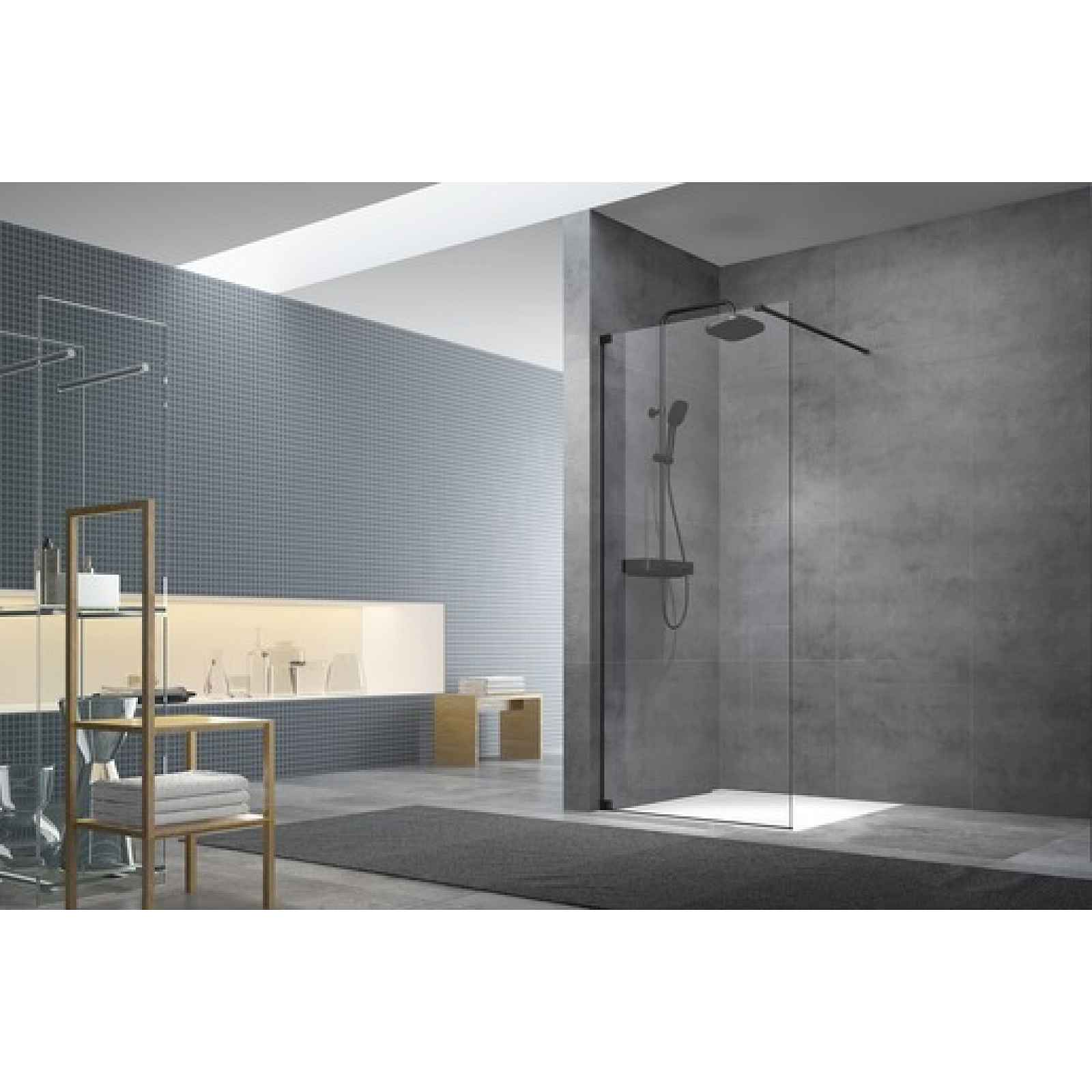 Sprchová zástěna walk-in Walk-In / dveře 120 cm s panty a zavětrováním Swiss Aqua Technologies Walk-in SATBWI120PAC