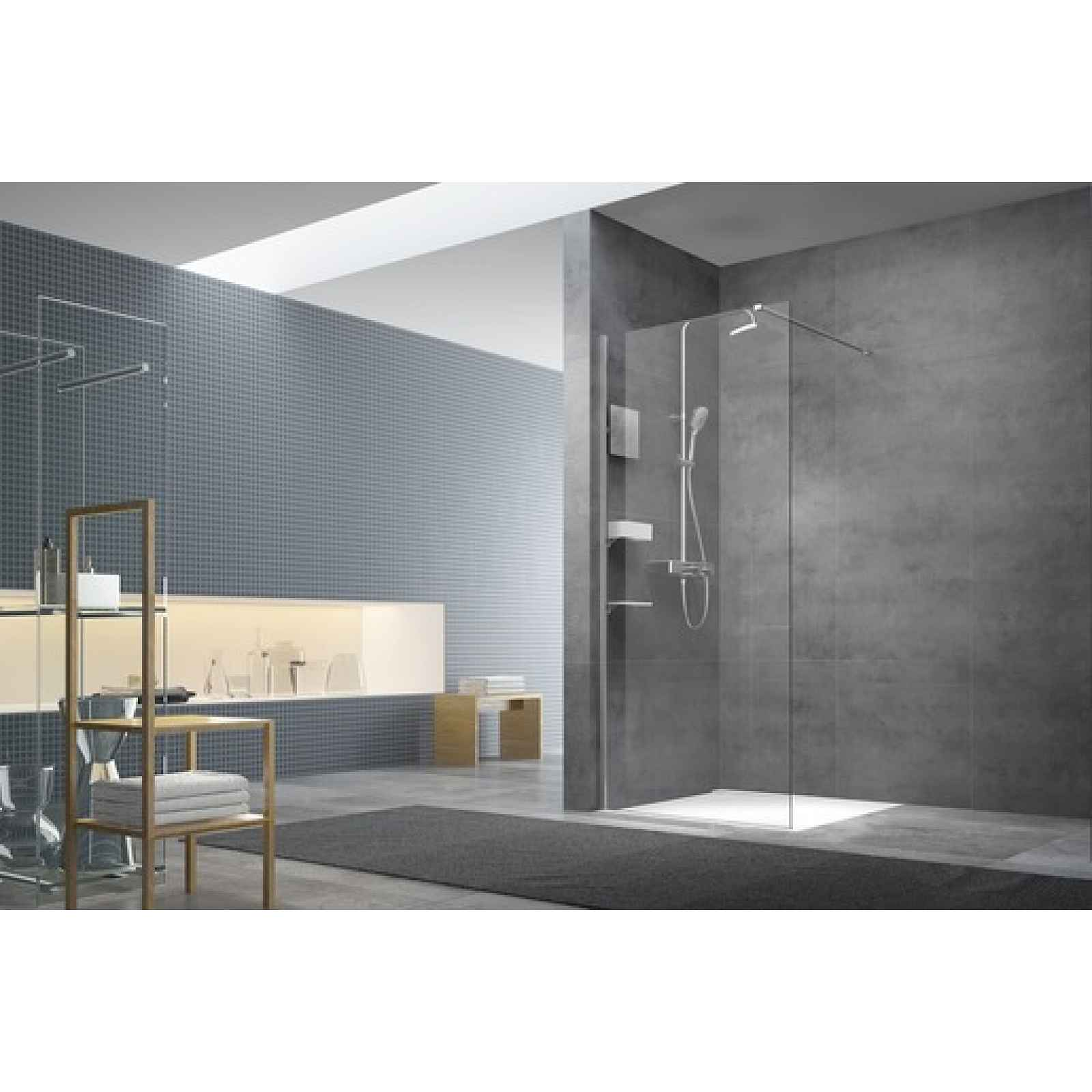 Sprchová zástěna walk-in Walk-In / dveře 140 cm s profilem, zavětrováním a dopňky Swiss Aqua Technologies Walk-in SATBWI140PRDOPL