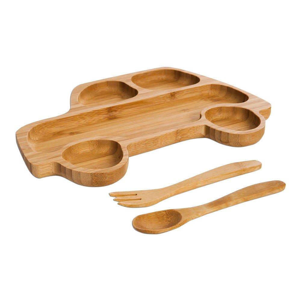 Set dětského talíře ve tvaru autíčka a příborů z bambusového dřeva Bambum