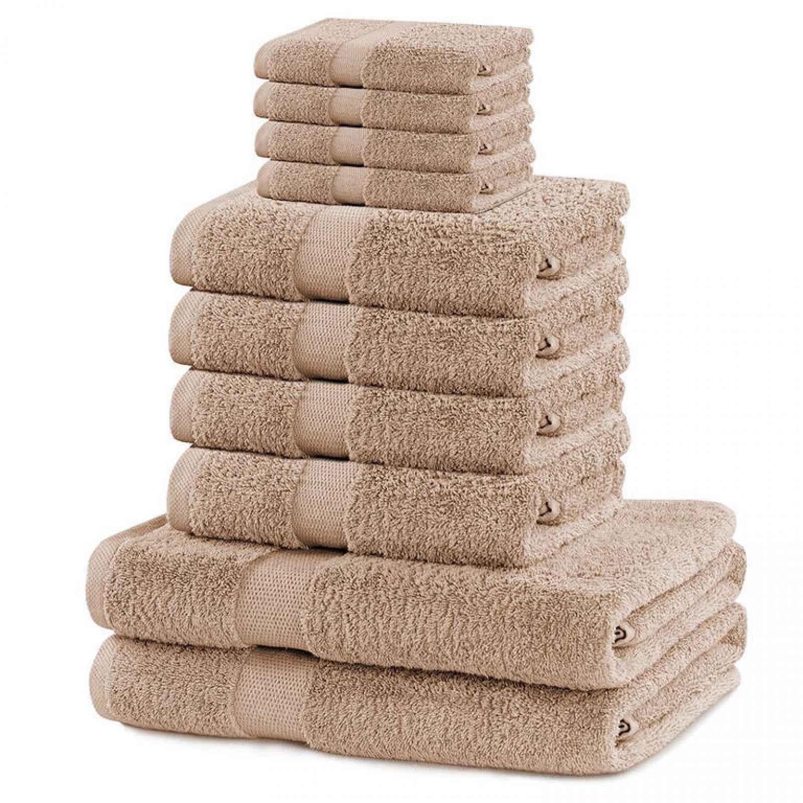 Sada froté ručníků a osušek MARINA béžová 10 ks