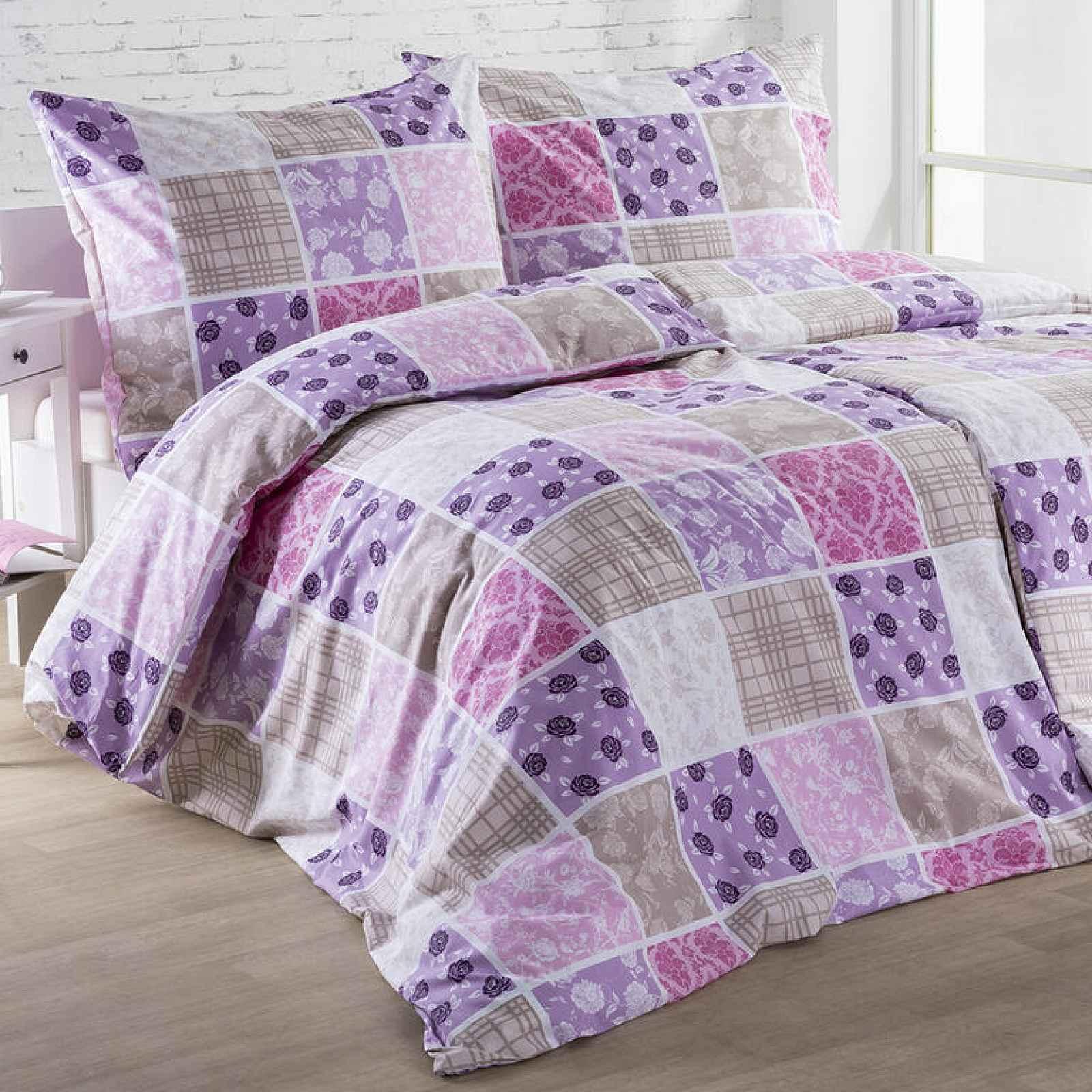 Bavlněné  povlečení KARINA fialové 140 x 220 cm, 70 x 90 cm