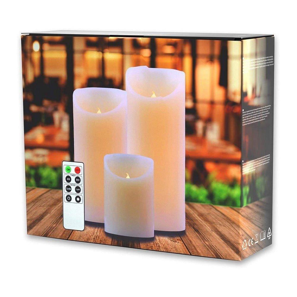 Sada 3 světelných svíček s dálkovým ovladačem DecoKing Subtle Nova