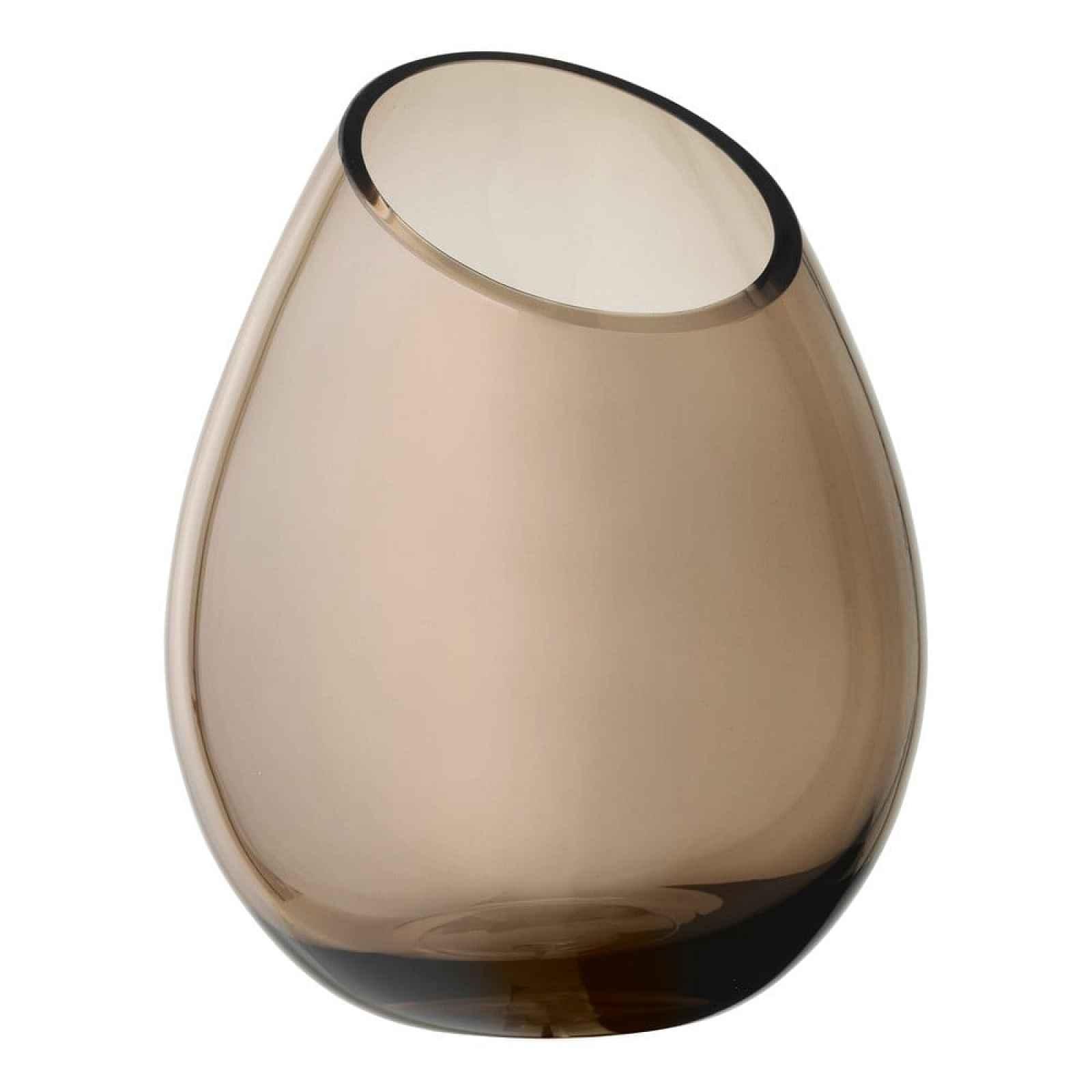Hnědá skleněná váza Blomus Raindrop,výška24cm