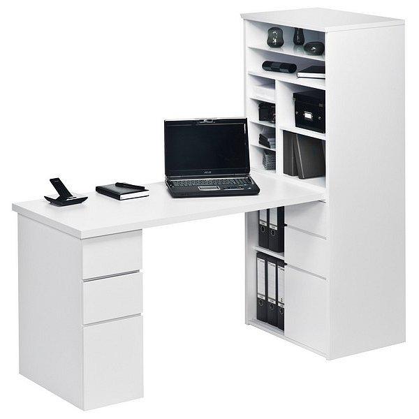 Psací stůl s úložným regálem Minioffice 9562, bílý/bílý lesk