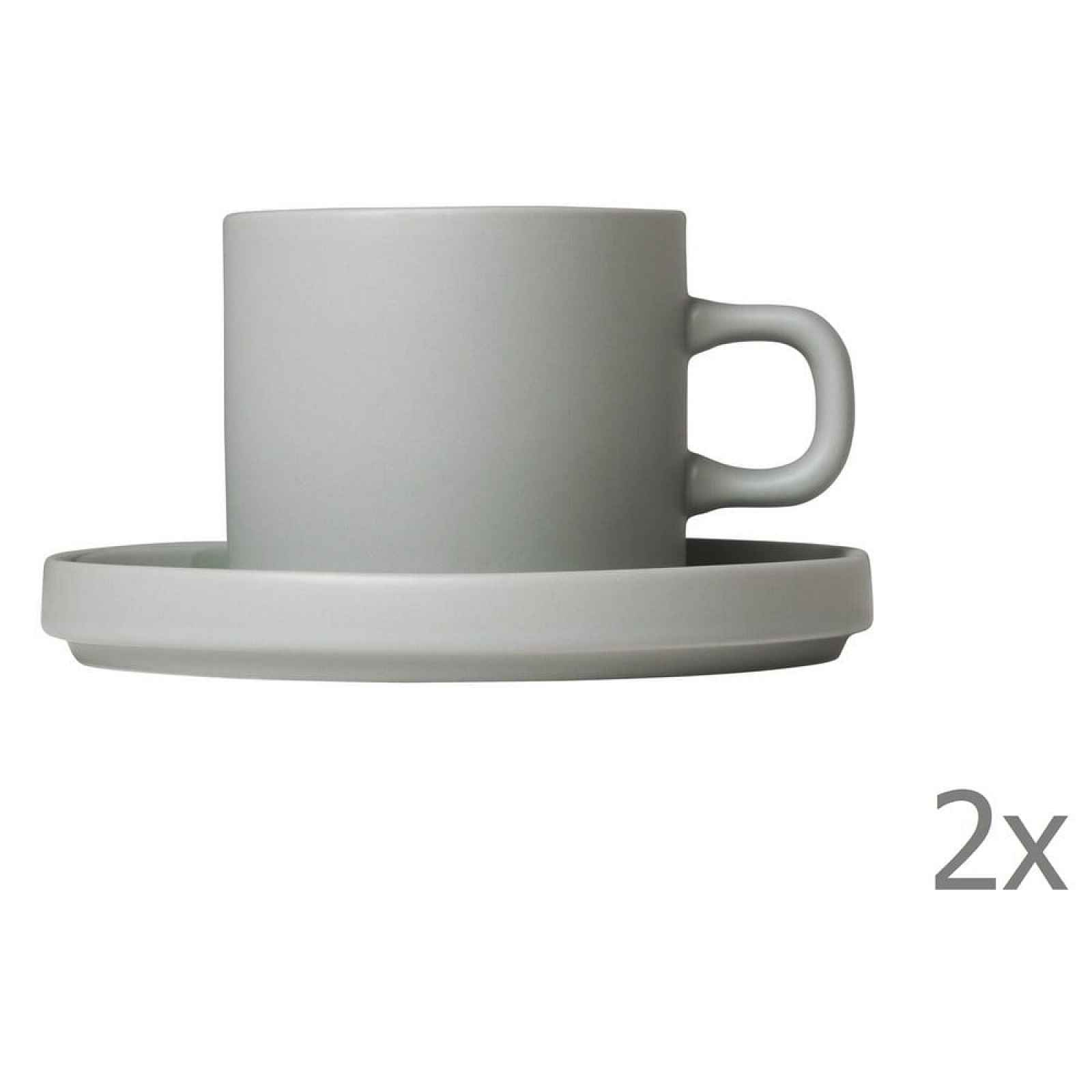 Sada 2 světle šedých keramických hrnků na kávu s podšálky Blomus Pilar,200ml