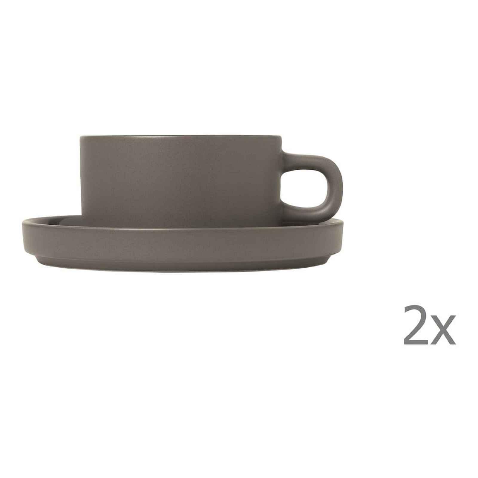 Sada 2 šedých hrnků na čaj Blomus Pilar,170 ml